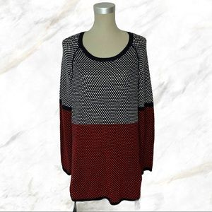 Tribal   White & Red Knit Sweater